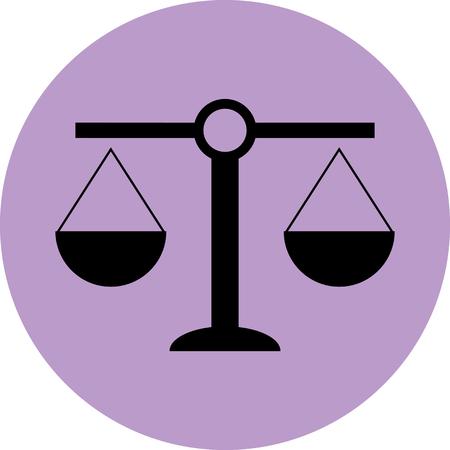 Scale icoon evenwicht. Rechtvaardigheid en gelijkheid, wet andcourt, meting wegen, misdaad en legaal. Vectorkunstontwerp abstract ongebruikelijke mode-illustratie