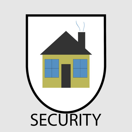 residential structure: Secutity home icon.  House and home, system residential structure, exterior construction button. Vector art design abstract unusual fashion illustration Illustration