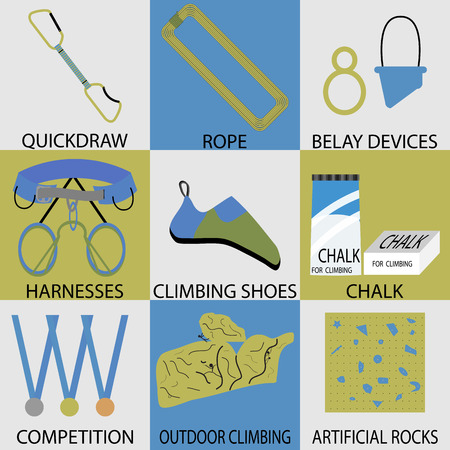 belay: Set icon sport climbing. Rope and belay device, harnesses and quickdraw, chalk climbing, shoes and competition, outdoor and artificial climb button. Vector design abstract unusual fashion illustration Illustration