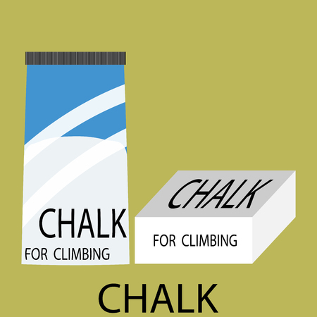 magnesium: Chalk climbing icon. Magnesium for training, powder for extreme sport and mountaineering,  Chalk climbing iconVector art design abstract unusual fashion illustration