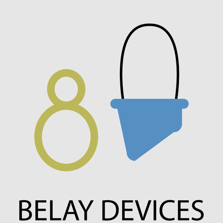 protection devices: Belay devices icon flat. Equipment safety atc, protection object for climbing sport and mountaineering. Vector art design abstract unusual fashion illustration