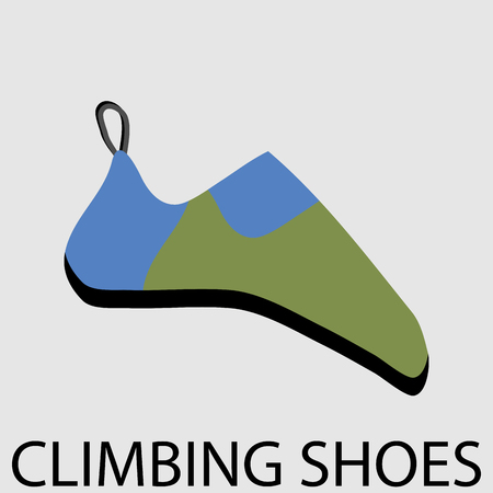 mountaineering: Climbing shoes icon flat. Equipment for sport extreme, mountain rock, footwear activity, climb, outdoor mountaineering. Vector art design abstract unusual fashion illustration