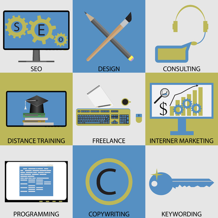 keywording: Icon set concept of remote work. Seo and design, consulting and distance training, freelance and internet marketing, programming and copywriting, keywording. Vector unusual fashion illustration