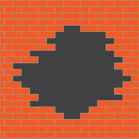 stonewall: Hole in brick wall orange. Banner template business, building stonewall structure. Vector art design abstract unusual fashion illustration
