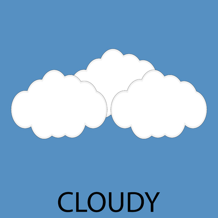cold climate: Cloudy icon weather. Cloud and cold, meteorology nature, climate forecast. Vector art design abstract unusual fashion illustration