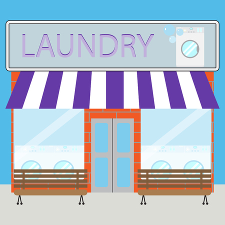 market place: Building laundry flat design. Washing mashine, building and business. Vector art design abstract unusual fashion illustration