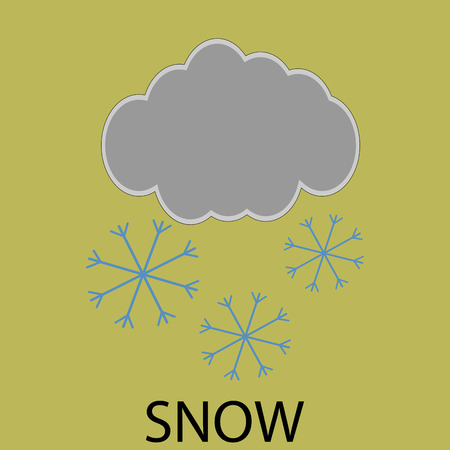 cold climate: Icon weather snow. Winter design, cold sticker, cloud and flake, forecast climate. Vector art design abstract unusual fashion illustration Illustration