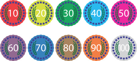 50 years jubilee: Emblem badge anniversaries color set. Birthday insignia for jubilee, label or emblem celebration sign 70, banner 100 year, award 30, 60 and 90 stamp. Vector art abstract unusual fashion illustration