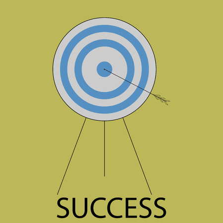 succes: Succes icon flat design. Target and arrow, bulls eye, goal center, strategy sport game and business. Vector art abstract unusual fashion illustration