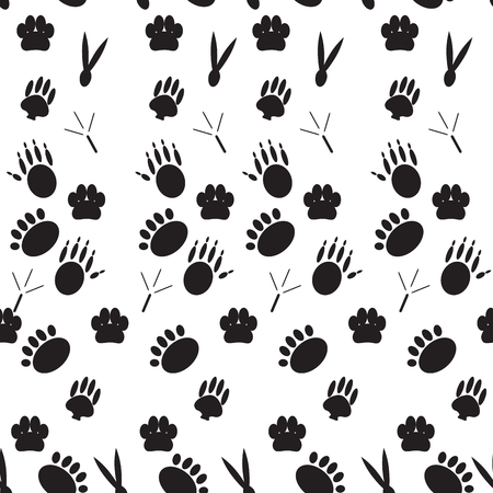 mammals: Monochrome pattern footprints various mammals. Seamless background, animal foot, endless repetition trace paw. Vector art abstract unusual fashion illustration