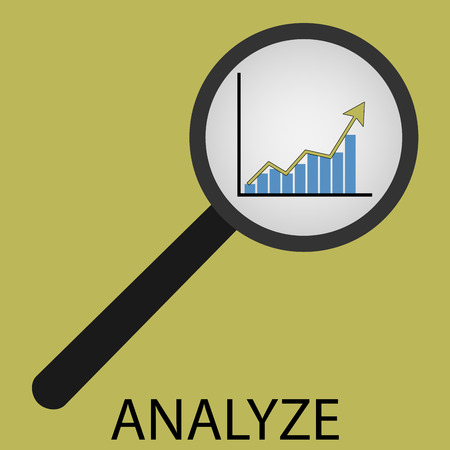 analyse: Analyze icon flat design. Analyzing business, management chart, magnifier search, strategy diagram. Vector art abstract unusual fashion illustration Illustration