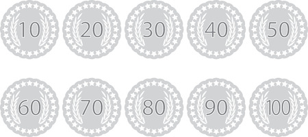 Emblem badge anniversaries. Label emblem fot celebration birthday, 70 and 100 year, award 60, 90 stamp, 40 and 10, insignia sticker 80. Vector art abstract unusual fashion illustration
