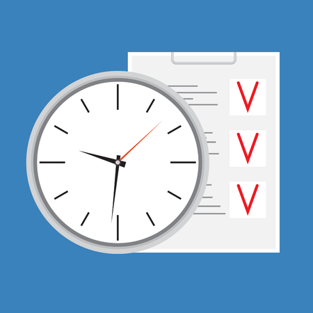 punctuality: Time planning design icon. Checklist workflow, punctuality and efficiency, organizer and productivity. Vector art abstract unusual fashion illustration