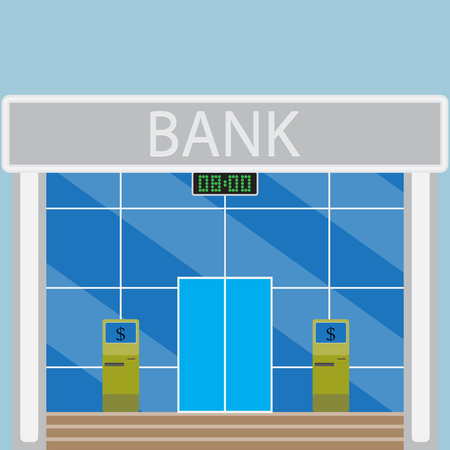 time account: Building modern bank. Business office, account economy, budget and income, ATM and currency. Vector art abstract unusual fashion illustration