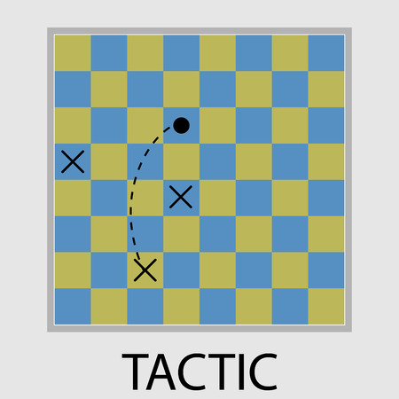 tactic: Tactic icon flat design. Strategy chess, play game, business success challenge, win modern. Vector art abstract unusual fashion illustration Illustration