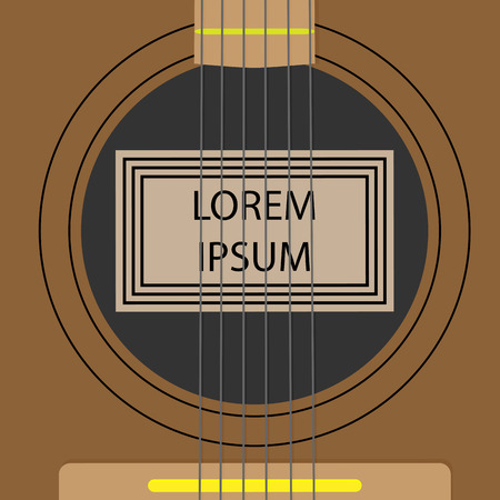 共振器サウンド ボード テンプレート バナー。サウンド楽器ギター、アコースティックの文字列。ベクトル アートの抽象的な奇抜なファッションのイラスト