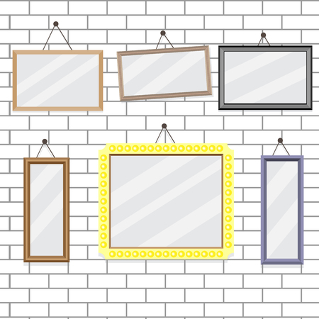 stonewall: Set of picture frames on brick wall template. Photo empty, image show, pattern stonewall. Vector art abstract unusual fashion illustration Illustration
