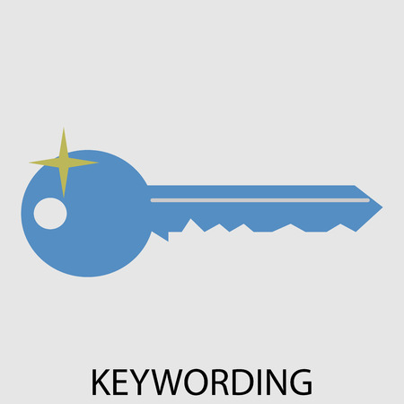 keywording: Keywording icon flat design. Keyword web for business internet, secret key for account. Vector art abstract unusual fashion illustration Illustration