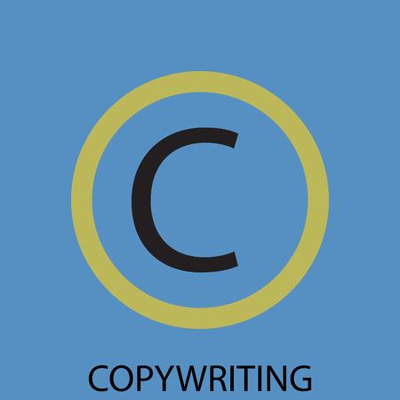 copy writing: Copywriting icon flat design. Copyright and advertising, marketing internet development. Vector art abstract unusual fashion illustration Illustration
