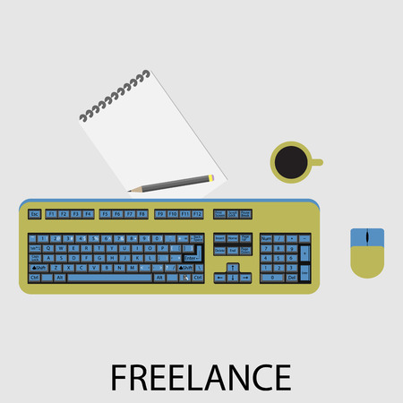computer keyboard: Freelance icon flat design. Development and computer, process internet, online designer, management and coding.  Vector art abstract unusual fashion illustration