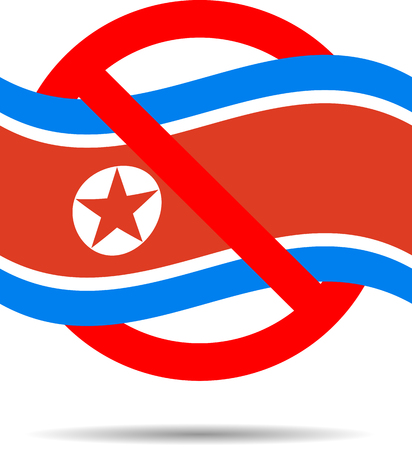 ban sign: North Korea ban sign. Prohibit and sanctions. Vector art abstract unusual fashion illustration