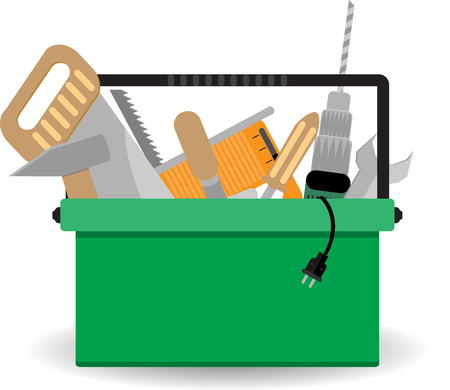 Toolbox with instrument. Repair box, work construction, hardware and screwdriver, carpentry service. Vector art abstract unusual fashion illustration