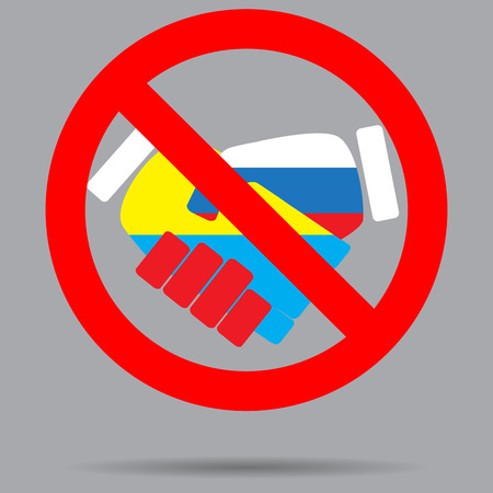 ban sign: Ban sign cooperation ukraine and russia. Ban deal, stop or no, icon handshake, ban contract and friendship cooperation, forbidden hand label. Vector art abstract unusual fashion illustration