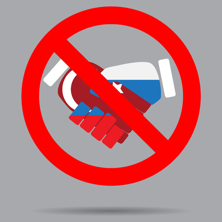 ban sign: Ban sign cooperation turkey and russia. Ban deal, no handshake, contract or friendship cooperation, forbidden russia and turkey. Vector art abstract unusual fashion illustration Illustration