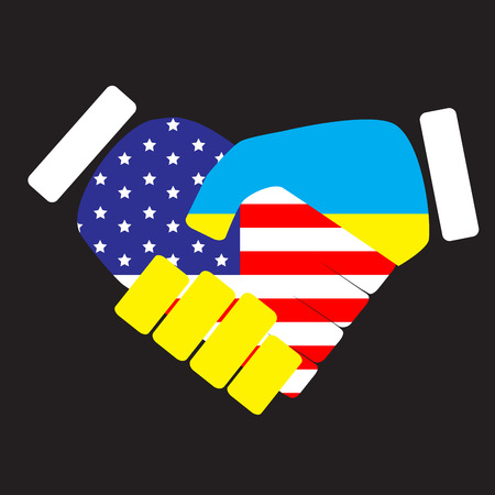 Symbol Sign Handshake Usa And Ukraine Flag Ukraine Cooperation