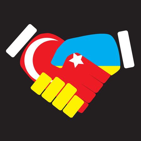 politic: Symbol sign handshake Turkey and Ukraine. Flag ukraine cooperation friendship nation, handshake unity turkey, turkish politic. Vector art abstract unusual fashion illustration Illustration