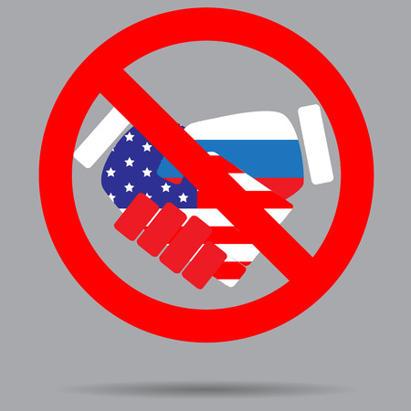ban sign: Ban sign cooperation usa and russia. Deal stop, no contract and friendship, forbidden label. Vector art abstract unusual fashion illustration Illustration