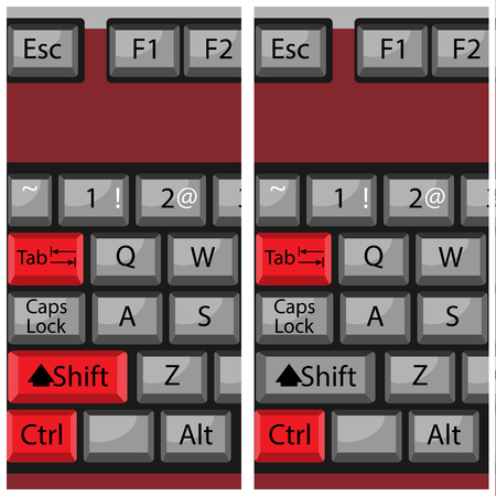 command: Combination button keyboard, page next, page back. Button next interface, command combination, key keypad, ctrl tab and shift. Vector art abstract unusual fashion illustration