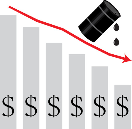 graph down: Oil falls in price. graph down. Diagram oil, price crisis, business petrol, arrow down, petroleum industry. Vector art abstract unusual fashion illustration