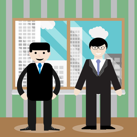 businessteam: Success business team office window. Office team, business professional partnership, teamwork people, businessman corporate meeting, window cityscape. Vector art abstract unusual fashion illustration