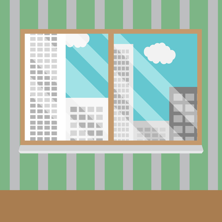 view window: Business views window office. Office window, business building, interior glass, view urban skyscraper. Vector art abstract unusual fashion illustration