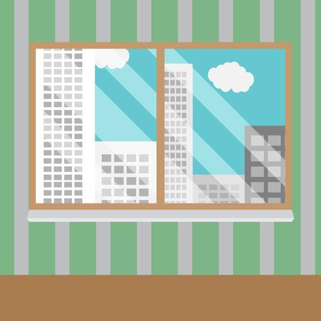 office window view: Business views window office. Office window, business building, interior glass, view urban skyscraper. Vector art abstract unusual fashion illustration