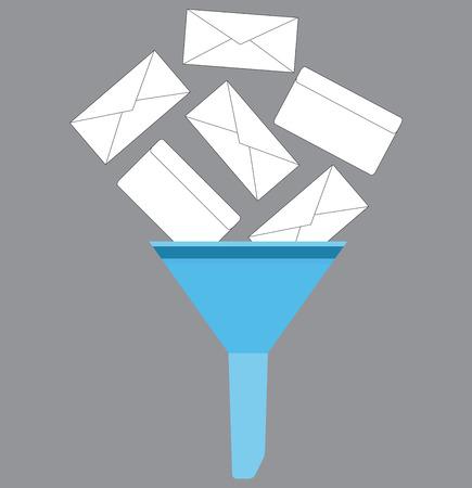icono de filtro de correo no deseado. icono de correo no deseado, correo de servicio de Internet, correo no deseado filtro digital, mensaje de filtro. Vector arte ilustración de moda inusual