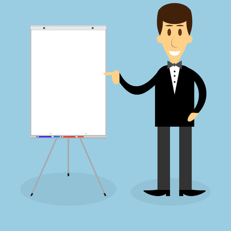 briefing: Man with banner presentation. Businessman presentation or meeting, office man, professional consultant. Vector art abstract unusual fashion illustration