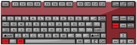 Combination button keyboard ctrl alt delete. Alt and delete and ctrl, key keyboard button, control reboot, restart and problem. Vector art abstract unusual fashion illustration Vector Illustration