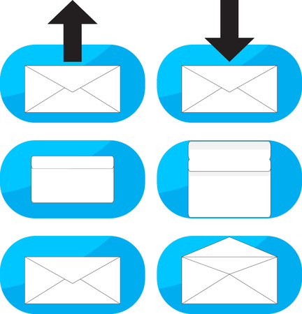 webmail: Inbox, outgoing emails icon set. Email inbox, outgoing mail, letter information, message incoming, send web, communication label. Vector art abstract unusual fashion illustration