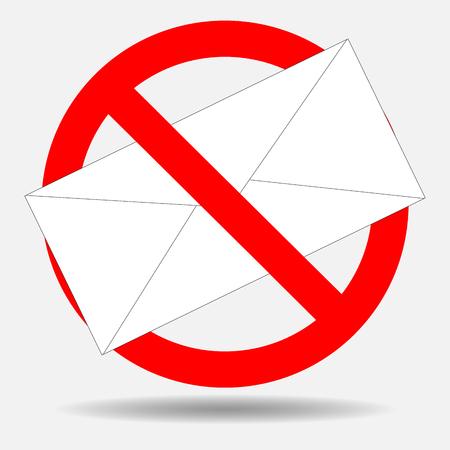 禁止のスパムメール。メール、スパム禁止、メール、web、停止アイコン メッセージない封筒を手紙します。ベクトル アートの抽象的な奇抜なファッ