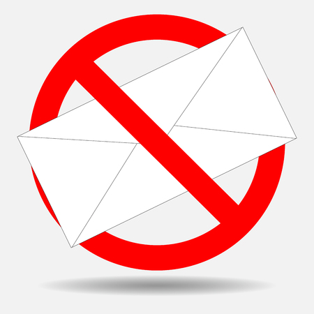 Ban spam letter. Letter mail, spam ban, email and web, stop icon message, no envelope. Vector art abstract unusual fashion illustration