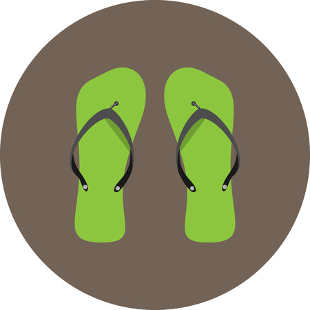 flipflop: Flip flops icon flat. Footwear relax, slipper sandal, beach shoes pair, flip-flop tourism icon. Vector abstract flat design illustration