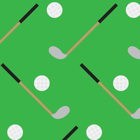 golf stick: Seamless pattern golf stick and ball. Golf hobby sport, seamless endless pattern, game ball, stick play. Vector abstract flat design illustration Illustration