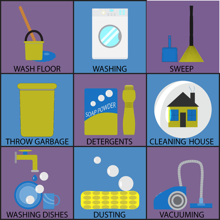 sweep: Cleaning icon set washing dusting and sweep. Wash floor, washing and sweep, throw garbage, detergents cleaning house, dishes and dusting, vacuuming icon. Vector abstract flat design illustration