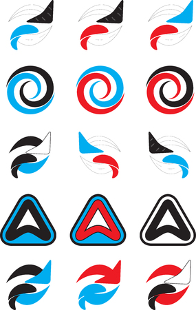 spin: Logo set abstract unusual icon. Business dynamic logo, spin logo trend, emblem logo fashion. Vector abstract flat design illustration Illustration