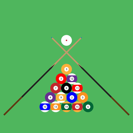 snooker cue: Snooker ball set of objects cue. Billiard pool, ball sphere, play sport, game competition, snooker hobby. Vector abstract flat design illustration Illustration