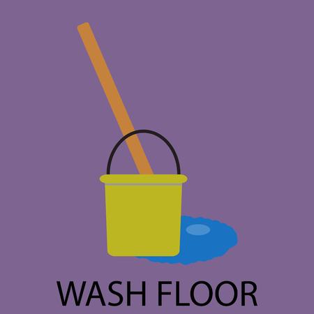 servicio domestico: Lavar icono de piso diseño plano. Servicio de limpieza, lavado de suelo, las tareas domésticas y de lavado doméstico, la limpieza y el cubo con la fregona. Resumen de vectores de ilustración diseño plano Vectores