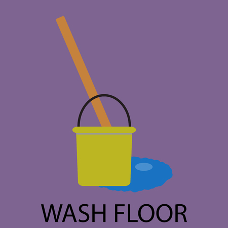 mop floor: Wash floor icon flat design. Clean service, floor wash, housework and domestic washing, cleanup and bucket with mop. Vector abstract flat design illustration