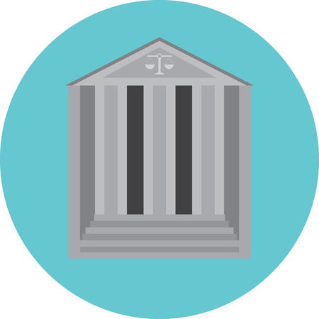 courtroom: Courthouse concept icon. Courtroom and court, lawyer and law,  courthouse steps, legal and justice, court of law. Column building, architecture government. Vector abstract flat design illustration